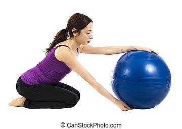 pilates, bola, exercício