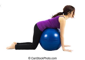 pilates, bola, exercício, para, abs