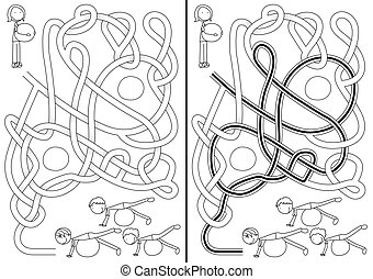 Pilates class maze for kids with a solution in black and...