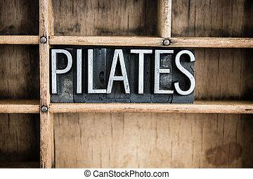 pilates, concept, metaal, letterpress, woord, in, lade