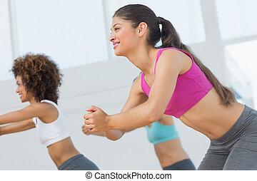 pilates, exercício, alegre, classe aptidão