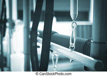 pilates, exercício, condicão física, ginásio, máquina, em,...