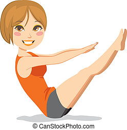 Pilates Exercise - Cute and slim brunette woman with short...