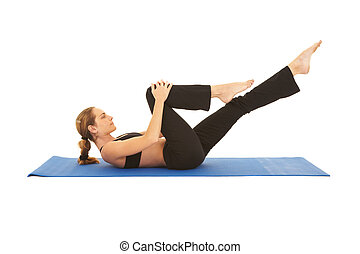 Pilates exercise series - Fit young brunette pilates...