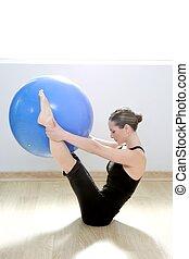 pilates, femme, stabilité, balle, gymnase, fitness, yoga