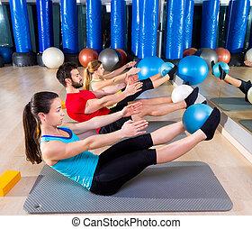 pilates, grupo, gimnasio, rompecabezas, sofbol, ejercicio