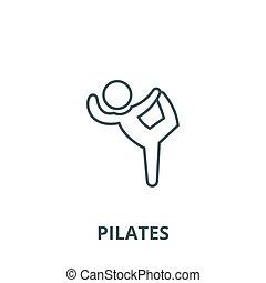 Pilates, gymnastics, practice, exercise vector line icon, linear concept, outline sign, symbol