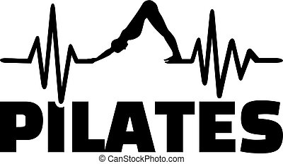 Pilates heartbeat line with silhouette