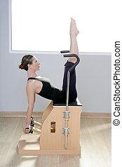 pilates, joga, turnhalle, combo, frau, fitness, stuhl, wunda