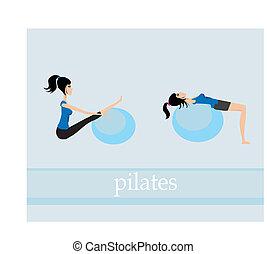 pilates, jogo, exercício