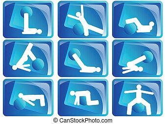 pilates, komplet, ikona
