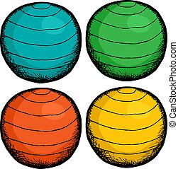 pilates, kugel, farben