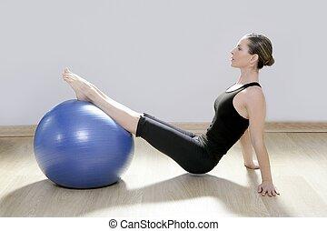 pilates, kvinna, stabilitet, boll, gymnastiksal, fitness,...