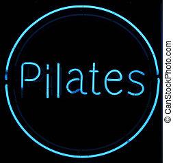 pilates, letrero de gas de neón