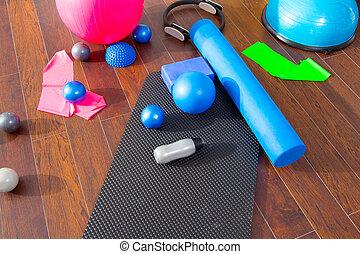 pilates, magia, estera, aerobio, pelotas, llenar, anillo, rodillo, como