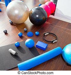 pilates, magisches, matte, aerob, kugeln, füllen, ring,...