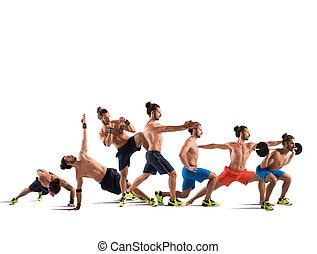 pilates, och, fitness, genomkörare