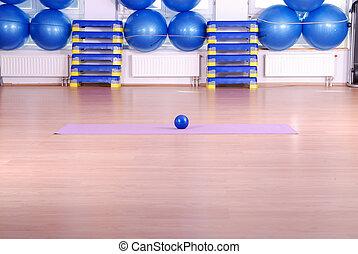.pilates, pelota, en, club de la aptitud