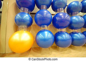 pilates, pelotas, en, club de la aptitud