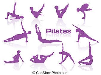 pilates, posen, in, violett, silhouetten