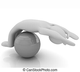 pilates, série, exercisme, fitness, plus grand, position, homme, mon, ball., 3d