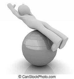 pilates, serie, esercitarsi, idoneità, più grande, posizione, uomo, mio, ball., 3d