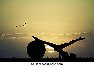pilates, silhouette, op, ondergaande zon