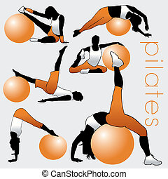 pilates, silhouette, set