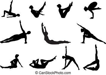 pilates, silhouetten, von, klappend