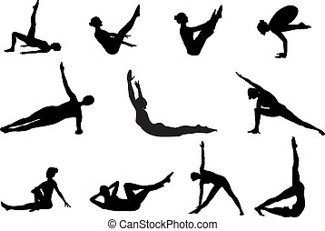 Pilates silhouettes of working out and stretching on the ...