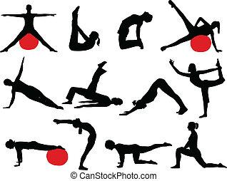 Pilates silhouettes - Pilates women silhouettes - vector