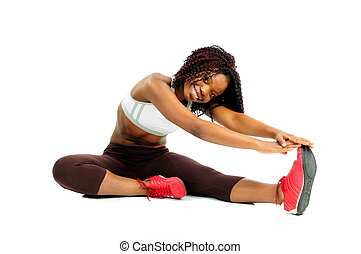 Pilates Stretch - Beautiful Happy African American Woman...