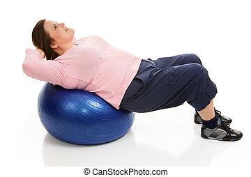 Pilates - Tightening Abdominals - Beautiful plus-sized model...