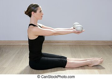 pilates tonning ball woman yoga aerobics sport gym