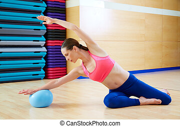 Pilates woman mermaid stability ball exercise