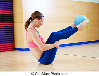 Pilates woman stability ball exercise gym workout