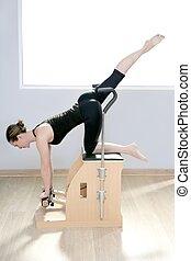 pilates, yoga, gymnase, combo, femme, fitness, chaise, wunda