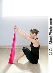 pilates yoga resistance band red rubber gym woman - pilates...