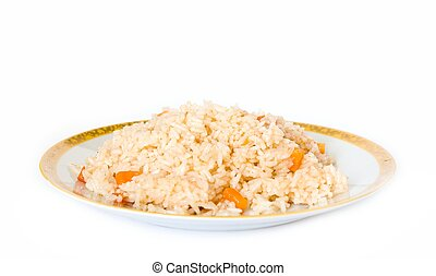 Pilau. Plate with rice on a white background