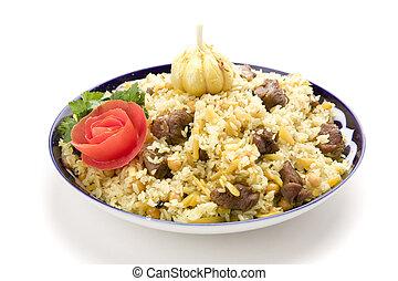 Pilau with garlic and tomato on white gound