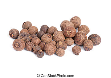 Pile Allspice (jamaica pepper) isolated on white background....