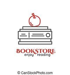 pile, apple., livres, logo, store., revêtu, livre, rouges