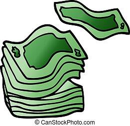 pile, argent, dessin animé, griffonnage, grand