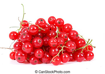 pile berries of red currant on white background - pile...