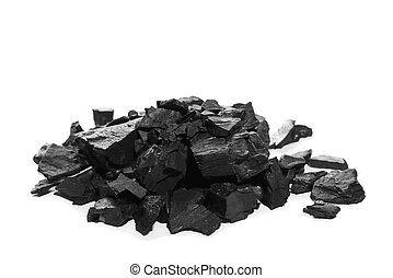 pile black coal isolated on white