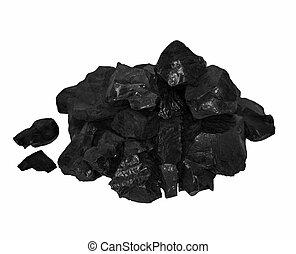 pile black coal isolated on white
