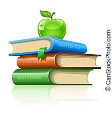 pile book with green apple - illustration, isolated on white...