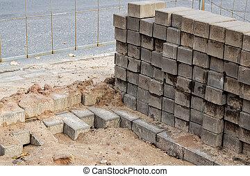 pile, briques, site, construction, closeup