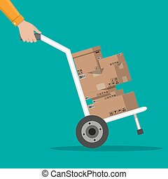 Pile cardboard boxes on a hand truck