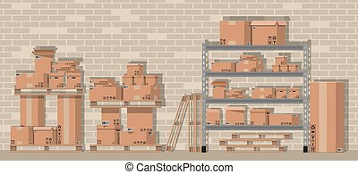 Pile cardboard boxes on shelves in warehouse